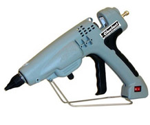 Gluefast's HMG-HD3 Glue Gun comes equipped with stroke adjustment screws that control flow amount, an on/off switch that allow users to turn off the gun without unplugging, an adjustable thermostat, an ergonomic handle, and a strong integrated support stand.